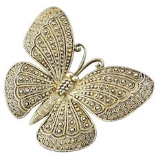 Theodor Fahrner Large 1930s Gilt Sterling Silver Butterfly Brooch