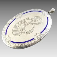 "3"" Signed Antique German 800 Silver Blue Enamel Locket Pendant Charm Gebrüder Falk"