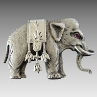 Adorable Antique Victorian Low Grade Silver Elephant Brooch