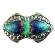 Antique Arts and Crafts Murrle Bennett Silver Blue Green Enamel Hearts Brooch