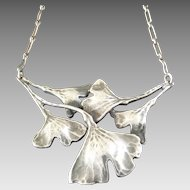 Edouard Aimé Arnould Antique French Art Nouveau Ginkgo Necklace Signed Silver Plated France 1900