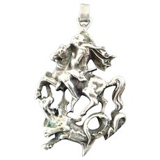 Large Heavy 800 Silver St George & the Dragon Pendant Medal