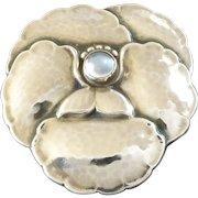 Vintage Georg Jensen Moonstone Sterling Silver Flower Brooch #113