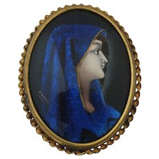 Antique Signed Limoges Enamel Brooch Mary Mother of Jesus by Gamet - almost 2""