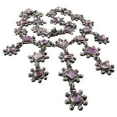 Vintage Taxco Mexican Amethyst Sterling Silver Necklace