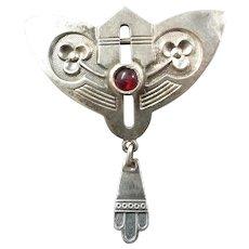 Antique Art Nouveau German Jugendstil 800 Silver Garnet Brooch