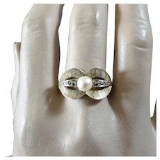 Theodor Fahrner 1930s Art Deco Cultured Pearl Marcasite Gilt Sterling Silver Ring