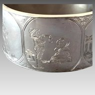 "Antique Victorian Kate Greenaway Sterling Silver Hinged Bracelet Bangle 1 1/4"" wide"