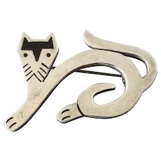 Vintage Mexican Taxco Modernist Sterling Silver Cat Brooch