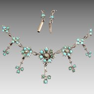 Antique Victorian Turquoise Rose Gilt (low grade) Silver Necklace 19th cent.