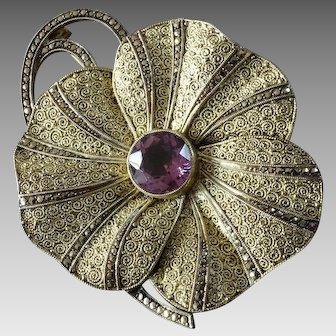 Huge Vintage Art Deco Theodor Fahrner Amethyst Gilt Sterling Silver Pansy Brooch w/ Sparkling Marcasite