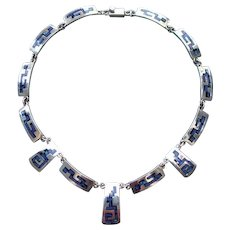 Vintage Mexican Onyx Lapis Silver Inlay Necklace Taxco 1980s 1990s