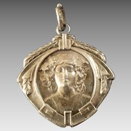 Antique Art Nouveau 830 Silver Pendant Woman's Head