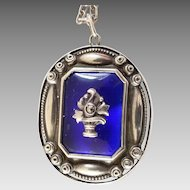 Antique Blue Glass Marcasite 800 Silver Pendant on Chain Flower Basket Roses 1900 1920