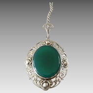 Large Antique Art Nouveau Green Agate Silver Pendant with Roses on Chain ca. 1900 ca. 2 3/4""