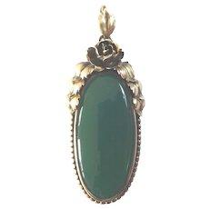 Large Antique Art Nouveau Green Agate Gilt 800 Silver Vermeil Pendant Roses 1900 1920