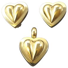 CADA Vintage Set Heart Shaped Pendant Clip-on Earrings Gilt Sterling Silver Signed 1980s 1990s