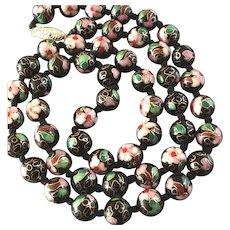 Long Vintage Chinese Cloisonne Enamel Floral Bead Necklace Black Pink Green Red - 3 stranded bracelet