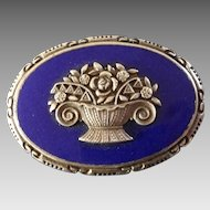 Antique 800 Silver Royal Blue Enamel Flower Basket Brooch ca. 1920s