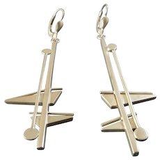 Long Dangling Post Modernist Sterling Silver Earrings