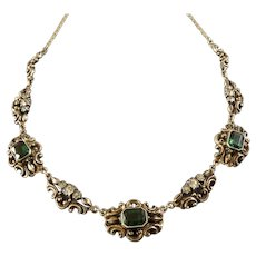 Antique Swedish Gilt Sterling Silver Necklace with Tourmaline Green and White Paste Stones