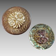 Two Antique Engraved Gilded Mother of Pearl 2-hole/1-hole Buttons 1 1/4""