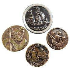 """4 Antique Metal Picture Buttons Nautical Scenes Venice Aquarius 1 5/16"""""""