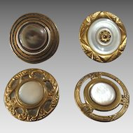 Four Antique Mother of Pearl Metal Buttons 19th Century 1 1/16""