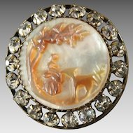 "Antique Victorian Cameo Carved Mother of Pearl Paste Button 1"" Woman Goat Landscape"