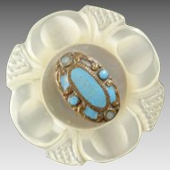 Antique Victorian Carved Mother of Pearl Enamel Button 1 1/8""