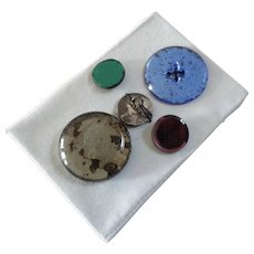 A Card of Antique Victorian Glass Buttons with Mirror Backs Watch Crystal Type