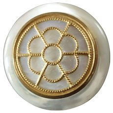 """Large Antique Victorian Mother of Pearl Gilded Openwork Metal Button 1 3/8"""""""