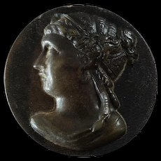 """Antique Victorian Pressed Horn Button Woman's Head in Profile  - just under 1 1/4"""" - Red Tag Sale Item"""