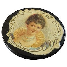 """Large Antique Paper Mache Button with Glossy Print of Victorian Woman 1 1/4"""""""