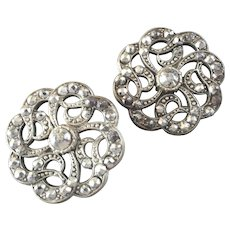 """Changed Price for 1 Button: Two Large Antique Georgian Openwork Cut Steel Metal Buttons 1 1/4"""""""