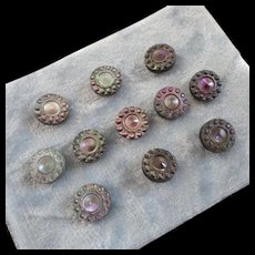 """A Card of 11 Antique Victorian Carved Mother of Pearl Buttons Beautiful Luster 7/16"""""""