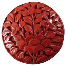 """Large Antique Elaborately Carved Chinese Cinnabar Button Peony 1 1/2"""""""