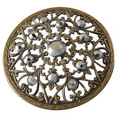 "Large Antique Victorian Filigree Metal Cut Steel Button 1 7/16"""