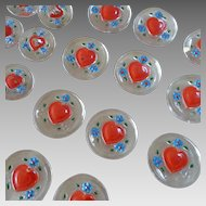 "Two Cards of Handpainted Glass Buttons Hearts Forget-me-nots 7/8"" and 11/16"""