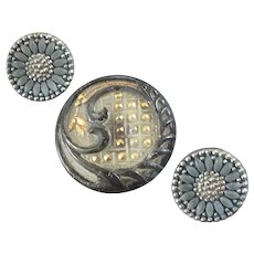 """Three Antique Czech Lacy Glass Buttons 1/2"""" and 7/8"""""""