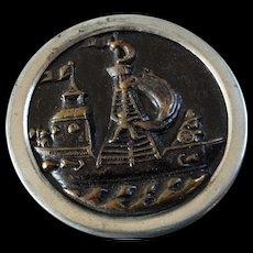 "Large Antique Victorian Metal Picture Button Ship Transportation 1 3/8"""