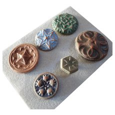 "Interesting Card of 6 Matte Glazed Art Deco Ceramic Buttons Signed 11/16"" to a hair under 1 1/4"""