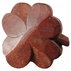 "Large Art Deco Carved Wood Button Four-Leaf-Clover 1 1/4"""