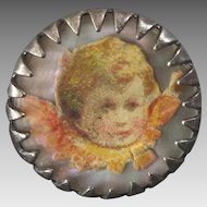 Small Angel Silver Plated MOP Clear Plastic Button with Litho Print 11/16""