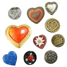 """10 Antique and Vintage Heart Buttons Glass Metal Wood Resin - up to 1 1/2"""""""