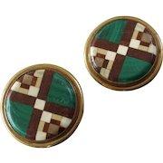 "Antique Victorian Pair of Pietra Dura Malachite Hardstone Lapel Stud Buttons 15/16"""