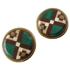 Antique Victorian Pair of Pietra Dura Malachite Hardstone Lapel Stud Buttons 15/16""
