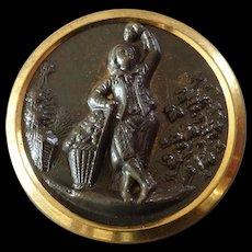 "Detailed Antique Victorian Metal Picture Button Grape Harvester Vineyard - just under 1 1/16"" Extra Fein"