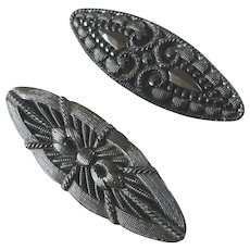 """Two Large Antique Czech Lacy Black Glass Spindle Buttons 1 3/8"""""""