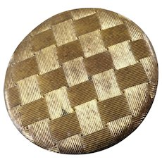"Large Antique Georgian Gilt Brass Button Basket Weave Pattern 1 5/16"""
